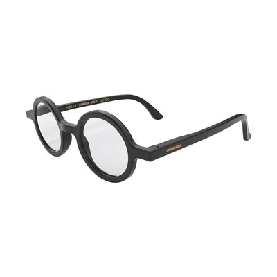 London Mole Moley blue blockers in black - open and skew