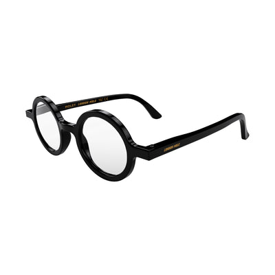 Open skew view of the London Mole Moley Blue Blocker Glasses in Gloss Black