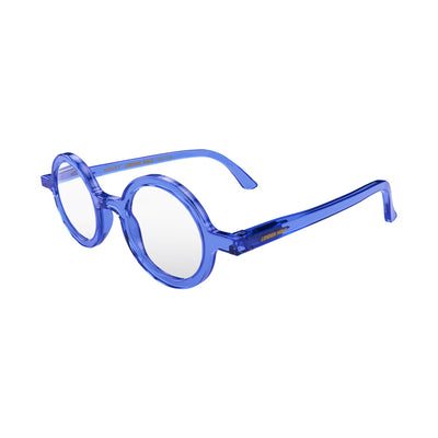 Open skew view of the London Mole Moley Reading Glasses in Transparent Blue