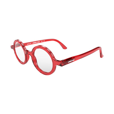 Open skew view of the London Mole Moley Reading Glasses in Transparent Red
