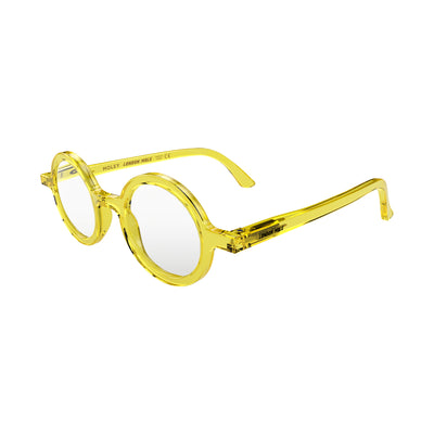 Open skew view of the London Mole Moley Reading Glasses in Transparent Yellow