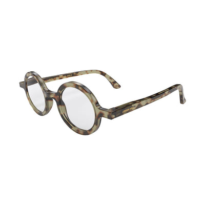 Skew angle of the London Mole Moley reading glasses in tortoise shell grey