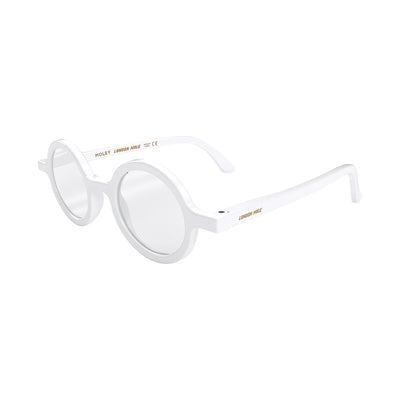 Side view of Moley Reading Glasses by London Mole with White Frames.