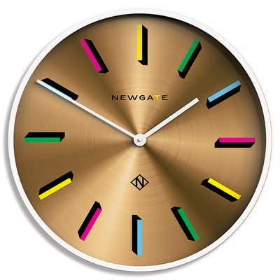 Spun brass and white giant Fancy Pants wall clock by Newgate World with colour marker dial - NUMXFANCY