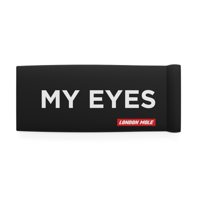 My Eyes glasses pouch in black with white text – front on - LMP-EYES-W