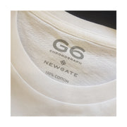 NEWGATE WORLD - WHITE crewneck TSHIRT - G6 - Anatomical Watch Head t-shirt - label