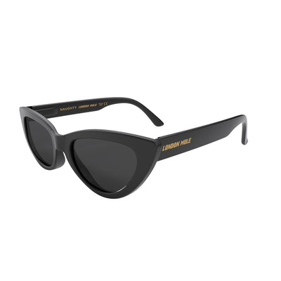 Open side view of the black London Mole Naughty sunglasses with black lenses