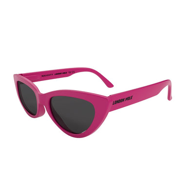 Open side view of the pink London Mole Naughty sunglasses with black lenses