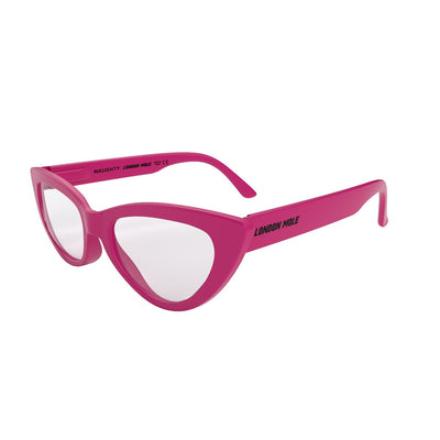 Side view of Naughty Reading Glasses by London Mole with Pink Frames.