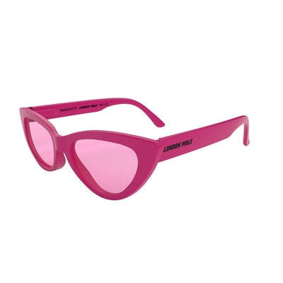 Pink London Mole Naughty sunglasses with pink lenses in packaging