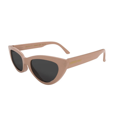 Open side view of the soft pink London Mole Naughty sunglasses with black lenses