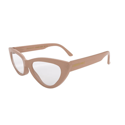 Side view of naughty Blue Blocker Glasses by London Mole with Soft Pink Frames.