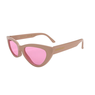 Open skew view of the pink London Mole Naughty sunglasses with pink lenses
