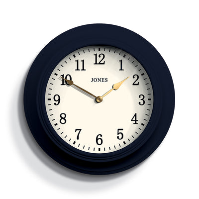 Navy Blue Wall Clock - Jones Clocks Cocktail JCOCKT118PEBL - FRONT