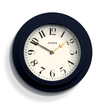 Navy Blue Wall Clock Decorative - Jones Clocks Cocktail JCOCKT111PEBL - Front
