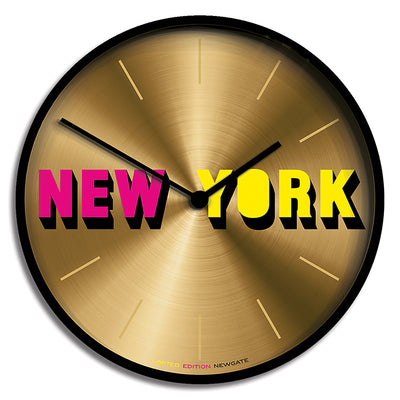 Newgate large Wall Clock with Limited Edition New York design and a gold dial