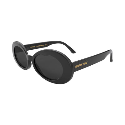 Open skew view of the black London Mole Nifty sunglasses with black lenses