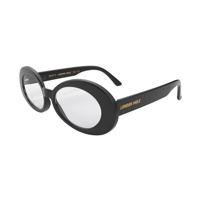 Open skew view of the black London Mole Nifty reading glasses