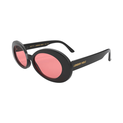 Open skew view of the black London Mole Nifty sunglasses with red lenses