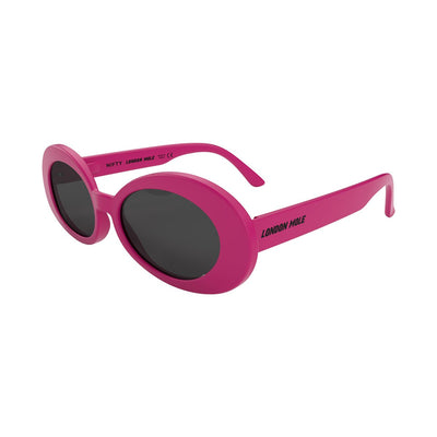 Open skew view of the pink London Mole Nifty sunglasses with black lenses