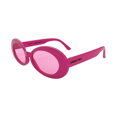 Open skew view of the pink London Mole Nifty sunglasses with pink lenses