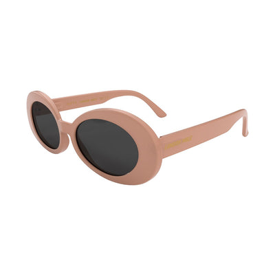 Open skew view of the soft pink London Mole Nifty sunglasses with black lenses
