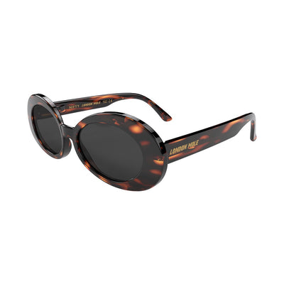 Open skew view of the tortoise shell London Mole Nifty sunglasses with black lenses