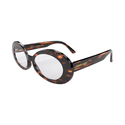 Open skew view of the tortoise shell London Mole Nifty reading glasses