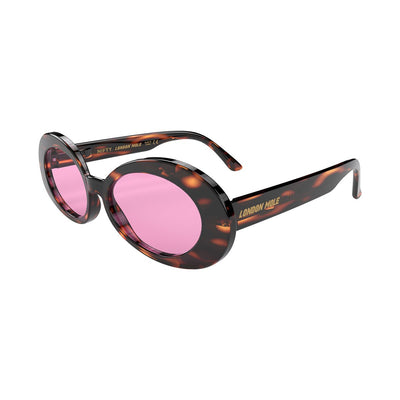 Open skew view of the tortoise shell London Mole Nifty sunglasses with pink lenses