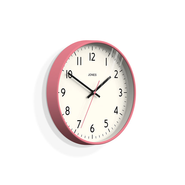Pink Wall Clock Modern Colourful - Jones Clocks Studio JPEN52MPK - skew