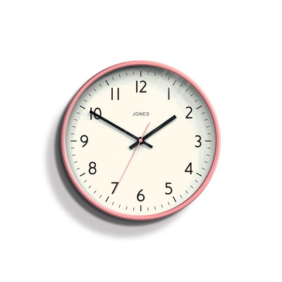 Pink Wall Clock Modern Colourful - Jones Clocks Studio JPEN52MPK - front