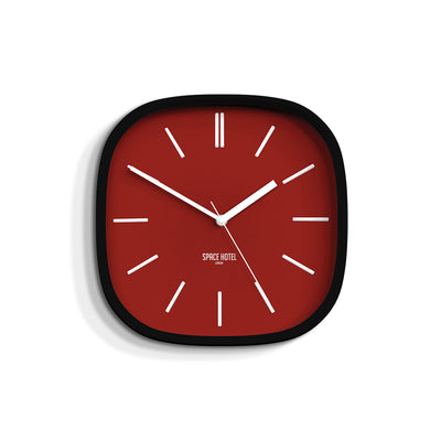 Red Black Wall Clock Modern Square - Space Hotel Moontick SH-MOON-R1-K