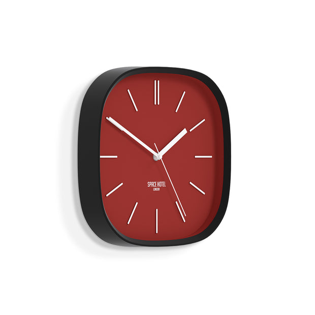 Red Black Wall Clock Modern Square - Space Hotel Moontick SH-MOON-R1-K skew