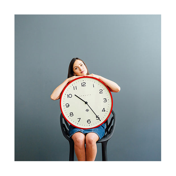 Red Kitchen Clock - Large Modern Wall Clock - Newgate Echo NUMONE149FER (lifestyle) 1 copy