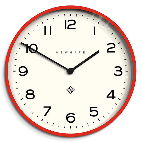 Red Kitchen Clock - Large Modern Wall Clock - Newgate Echo NUMONE149FER