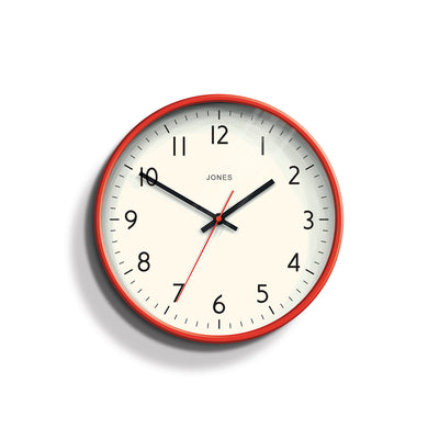 Red Wall Clock Modern Colourful - Jones Clocks Studio JPEN52ER - front