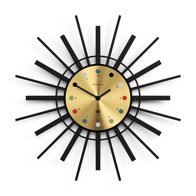 Retro Style Sunburst Wall Clock - Black with Brass Dial - STING288K