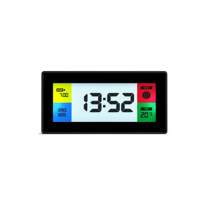 Space Hotel Robot 10 LCD alarm clock in black with multicoloured backlights