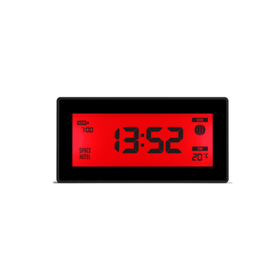 Space Hotel Robot 10 LCD alarm clock in black with a red backlight