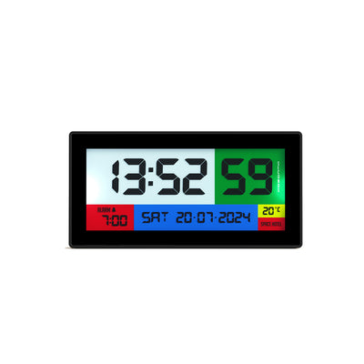 Space Hotel Robot 100 LCD alarm clock in black with multicoloured backlights