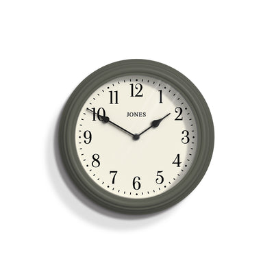 Jones Clocks Venetian classic wall clock in Sage Green with a pretty Arabic dial and double spade hands
