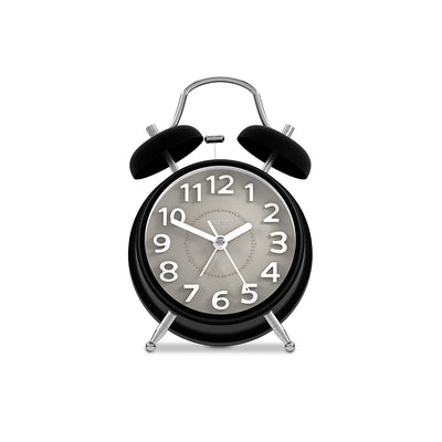 Silent Non-Tick Alarm Clock - Black Twin-Bell - Space Hotel Spacerat SH-SRAT-GY1-K