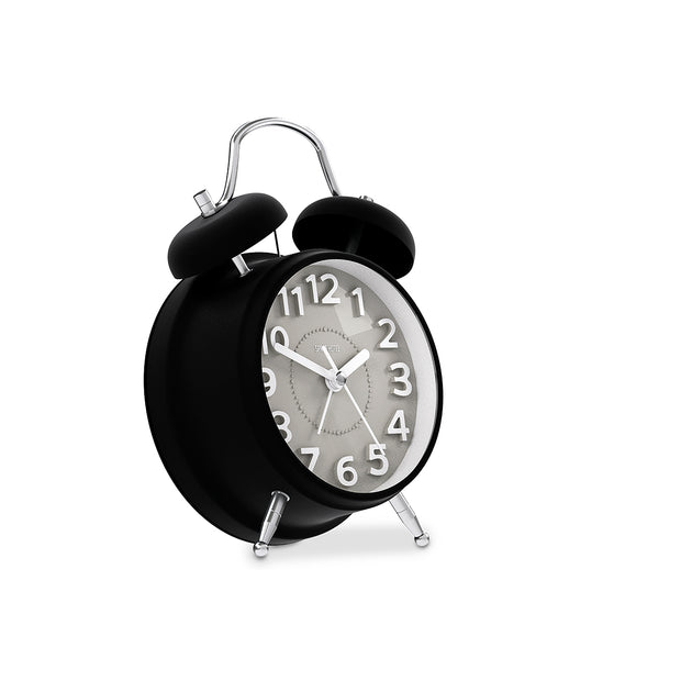 Silent Non-Tick Alarm Clock - Black Twin-Bell - Space Hotel Spacerat SH-SRAT-GY1-K skew