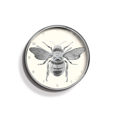 Academy silver Bee wall clock by Jones Clocks with a silver foil and cream dial - JACA374CH