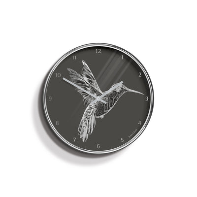 Academy silver Hummingbird wall clock by Jones Clocks with a silver foil and grey dial - JACA344CH