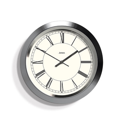 Silver Roman Numeral Wall Clock - Jones Clocks Starlight JSTAR707BRS