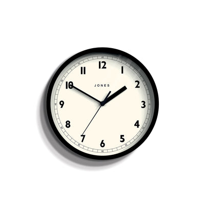 Small Black Wall Clock - Jones Clocks Spin JSPIN628K - front