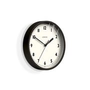 Small Black Wall Clock - Jones Clocks Spin JSPIN628K - skew