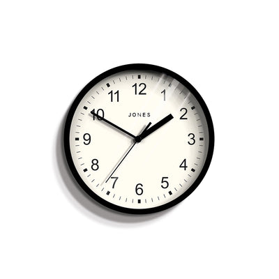 Small Black Wall Clock Contemporary - Jones Clocks Spin JSPIN136K