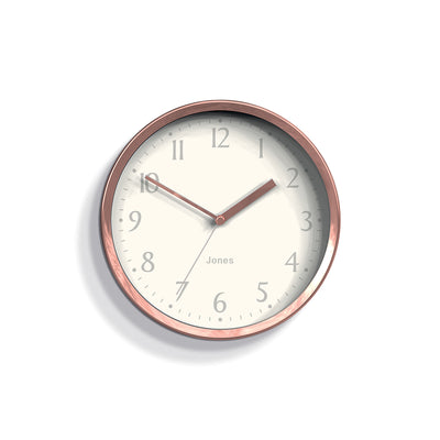 Small Copper Wall Clock Contemporary - Jones Clocks Dime JDIME581COP - front